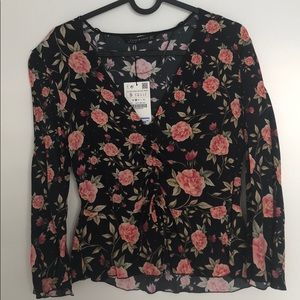 Zara Floral Black and Pink Cinched Top Sm NWT